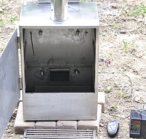 Gravity Feed Wood Pellet Vertical Cabinet Smoker Also Charcoal Chuncks Chips